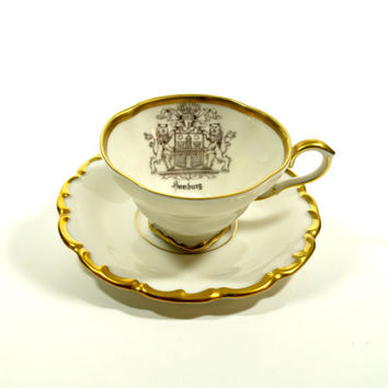 Other Antique Decorative Arts Decorative Arts Honey Vintage Leart Dematasse China Cup And Saucer Set Of 4 Gold Trim