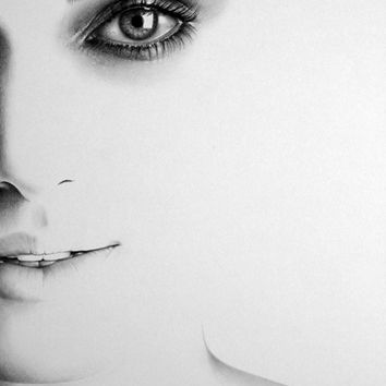 Keira Knightley Minimalism Pencil Drawing Portrait PRINT Signed by Artist