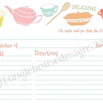 """Instant Download - Vintage Kitchen Recipe Cards DIY PRINTABLE """"Oh, Taste and See"""" Christian Scripture Bible Verse Recipe Cards"""