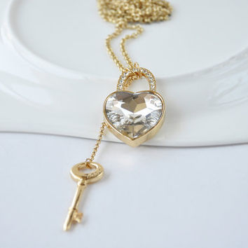Crystal Heart Lock and Key Charm Necklace - Heart and Key Necklace