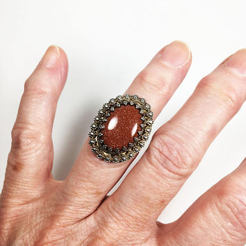 Oval Goldstone Silver Ring, Old Victorian Style Framed Double Band Gemstone Jewelry Orange Copper Tone Sparkling Statement Piece Gift