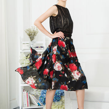 Floral Double Splits Midi Skirt