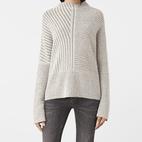 ALLSAINTS US: Womens Terra Funnel Neck Sweater (CREAM WHITE)