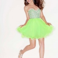 Mori Lee 9204 - Neon Lime Strapless Chiffon Prom Dresses Online