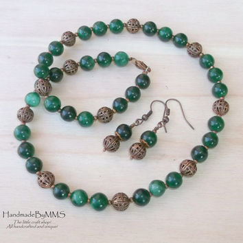 Vintage Emerald and Antique Copper beads necklace and earrings, Jewelry set, Statement jewelry, Stone necklace, Statement necklace