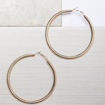Gold Textured Hoop Earrings