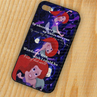 The Little Mermaid Ariel Quotes iPhone 5 iPhone 4 - 4S Plastic Hard Case Rubber Soft Case