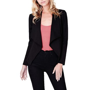Open Front Long Sleeve Tuxedo Blazer Jacket