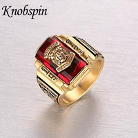 High quality Men's Rock Punk Ring Gold color Large Red CZ Stone Ring Jewelry 1973 Lion Head Party Rings For Men