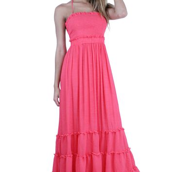 Vacation Smocked Front Self-Tie Halter Neck Tiered Maxi Dress