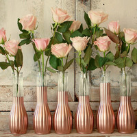Rose Gold vases, gold wedding decor,  Set of 6 rose gold dipped bud vases, rose gold painted budvase, wedding table decor, vase collection
