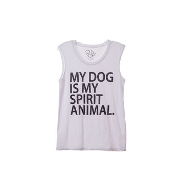 Chaser LA Womens White Dog Tank Top