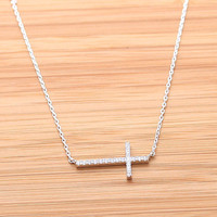 SIDEWAYS CROSS necklace with swarovski crystals, 2colors(plated, 925sterling) | girlsluv.it