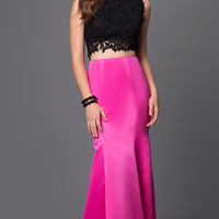 Two Piece Prom Dress with Embroidered Top