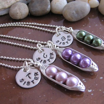 Peas in a Pod - SET OF Three necklaces - with Personalized Hand Stamped Silver disc tag (24 color options)