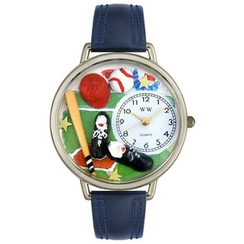 SheilaShrubs.com: Unisex Baseball Navy Blue Leather Watch U-0820007 by Whimsical Watches: Watches