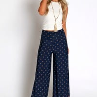 Kisses Of Karma Print Pants Navy