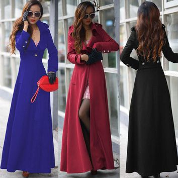 Single Button Winter Fashion Wool Coats Solid Wool Blend Coat and Jacket Long Coat Femenino