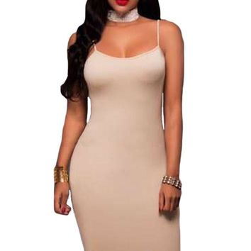 Woman's Apricot Seamless Bodycon Dress