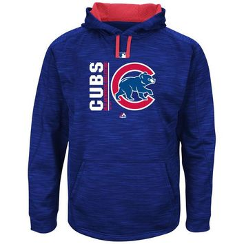 Men's Chicago Cubs Majestic Royal/Red Authentic Collection Team Icon Streak Fleece Pullover Hoodie