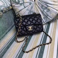 CHANEL WOMEN'S SMALL CLASSIC CAVIAR COW LEATHER CHAIN SHOULDER   BAG