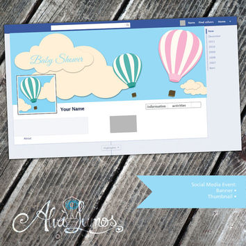 Baby shower social media event invitation - hot air balloon baby shower event invite - gender neutral shower event banner - instant download