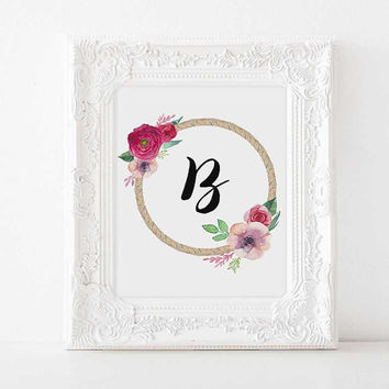 Custom nursery B baby name initials Nursery decor Nursery Letter nursery initials nursery name personalized initials baby name baby girl art
