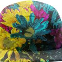 Psychedelic Daisies Baseball Cap created by Blooming Vine Design | Print All Over Me