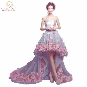 2017 flowers prom dresses short front long back evening gowns gray organza fashion party formal gowns for graduation