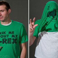 """""""Ask Me About My T. Rex"""" Shirt: Flip-up disguise t-shirt."""