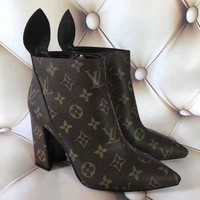 V Louis Vuitton Trending Ladies Print Heels Shoes Boots I