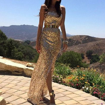 Women's Fashion Gold and Silver Flash Sexy Sequined Bodycon Dress = 1901207748