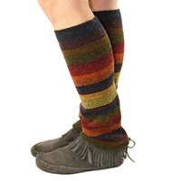 Leg Warmers in Autumn Leaf - Stripes - Brown Yellow Orange Red Olive Navy - Recycled Sweaters
