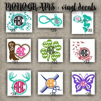 Monogram vinyl decals name initial decal sticker car d