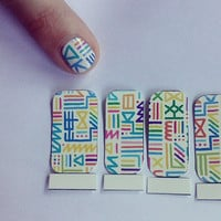 Multicolored Tribal Print Nail Decals by wearbyclaire on Etsy
