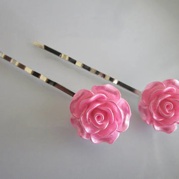 Pink Rose Bobby Pins - Pink Wedding Hair Clip - Bridal Hair Clips - Large Pink Rose Flower Bobby Pins - Roses for Hair - Pink Rose Wedding