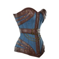 Blue Denim Overbust Corset with Brown Faux Leather Buckle Detail