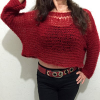 Chunky crop sweater, cropped knit sweater, red crop top, handmade knitwear, handknit sweater, womens crop top, fashion knit , boho sweater