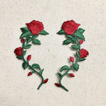 SMALL - Red Rose - Open Petals on Long Stem - Flowers - Facing LEFT or RIGHT - Iron on Applique - Embroidered Patch - 697243