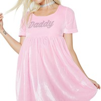 Daddy Velvet Babydoll Dress