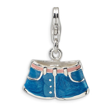 Sterling Silver 3-D Enameled Blue Jean Shorts w/Lobster Clasp Charm QCC483