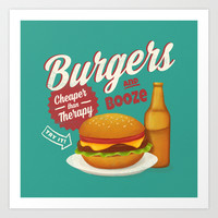 Burgers and Booze Art Print by MidnightCoffee