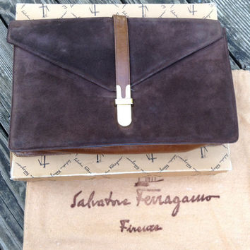Vintage Salvatore Ferragamo handbag clutch purse brown suede with DUSTBAG and box