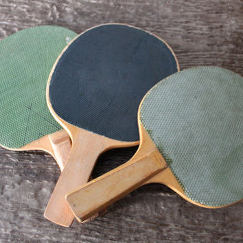 Vintage Ping Pong Paddles Industrial Home Decor