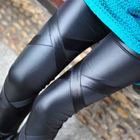 lady fashion cross leather carpis female brand new leather pants girl sexy clothing trousers retail drop shipping