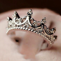 Women's Fine Fashion Crown Ring Silver Plated Jewelry Punk Jewelry Rings Gift LS