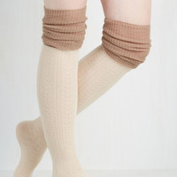Colorblocking Knittin' Pretty Thigh Highs in Ivory and Taupe by ModCloth