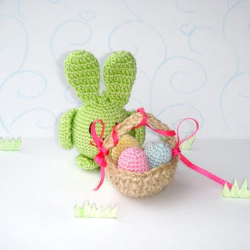 Easter Rabbit Baby toy rattle Animal Green Green apple Bunny toy Easter basket eggs