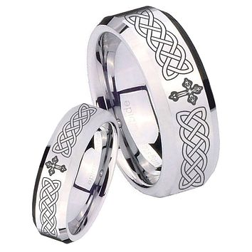 His Her Mirror Beveled Celtic Cross Silver Tungsten Wedding Rings Set