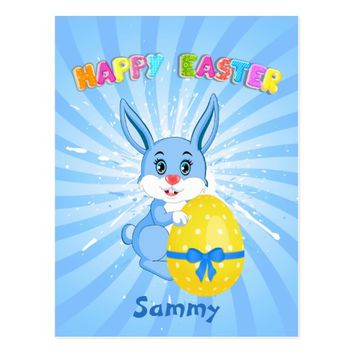 Blue Easter Bunny Cartoon Postcard